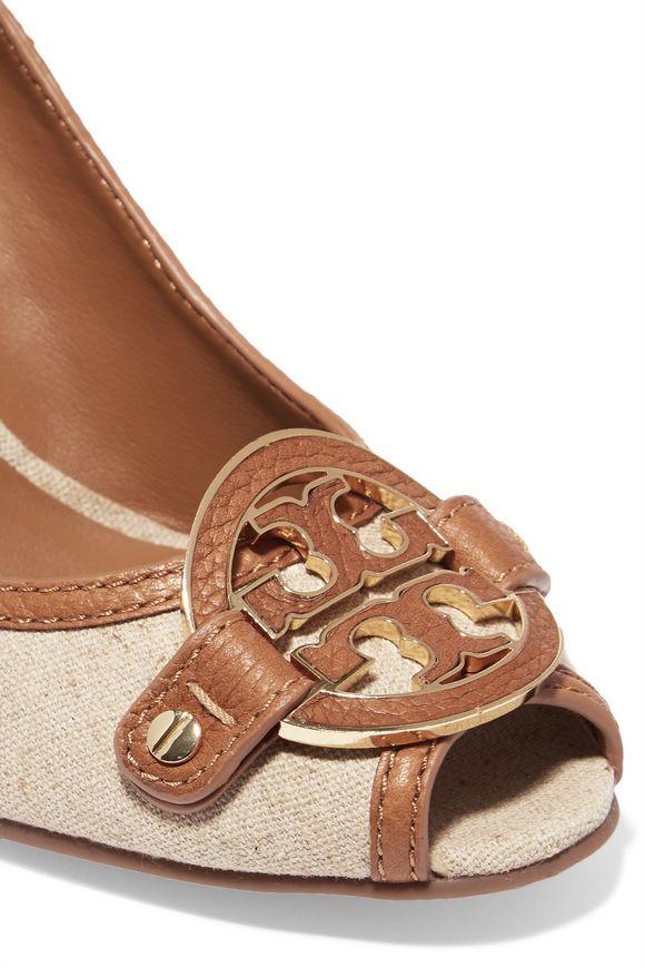 1cf6234fd82d Amanda leather-trimmed canvas wedge pumps