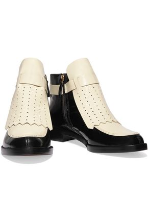 TORY BURCH Hyde perforated glossed-leather ankle boots