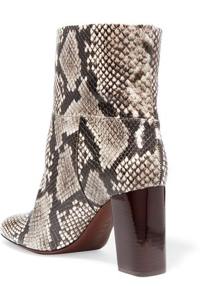 TORY BURCH Devon snake-effect leather ankle boots