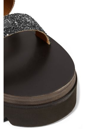 MM6 by MAISON MARGIELA Glittered leather platform sandals
