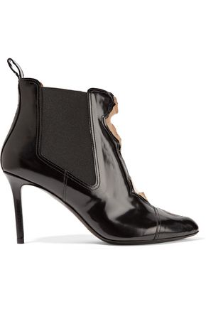 MAISON MARGIELA Paneled patent-leather and mesh ankle boots
