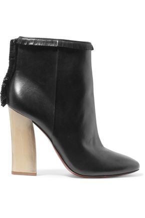 TORY BURCH Fringed leather ankle boots