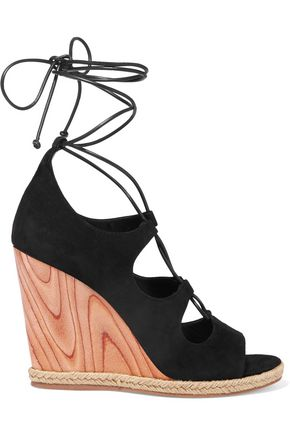 TORY BURCH Raya lace-up suede wedge sandals