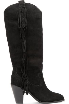 ASH Fringed suede knee boots