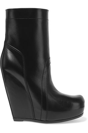 RICK OWENS Leather ankle wedge boots