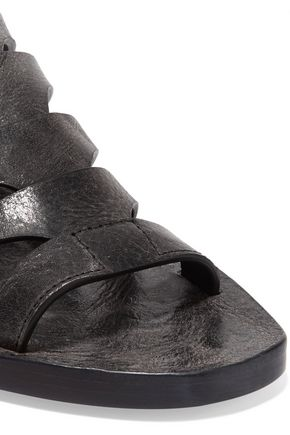 RICK OWENS Nautilus Sliver textured-leather wedge sandals