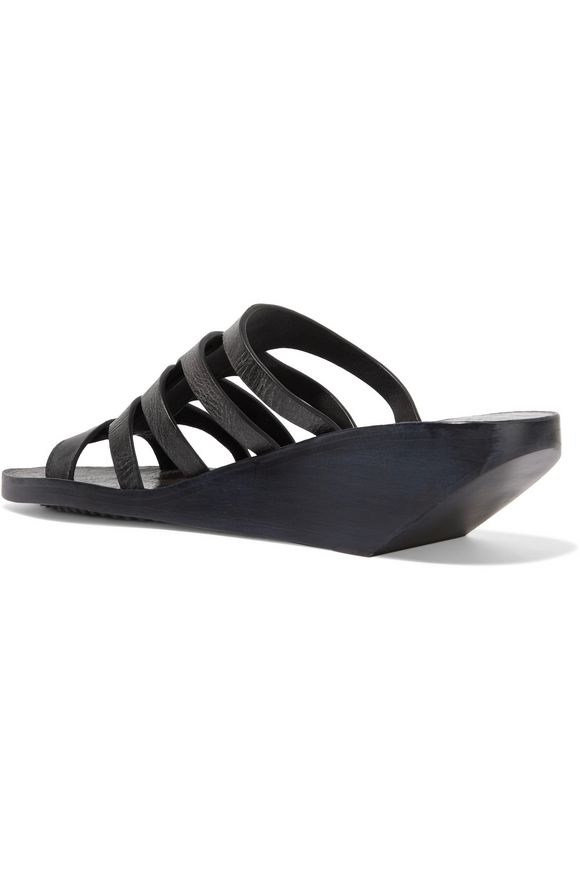 Nautilus Sliver textured-leather wedge sandals | RICK OWENS | Sale up to  70% off | THE OUTNET