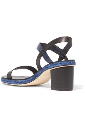 TORY BURCH Malaga jute-trimmed leather sandals