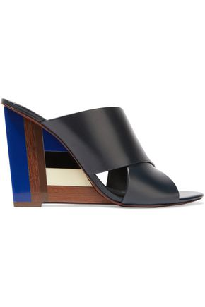 TORY BURCH Leather and perspex wedge mules