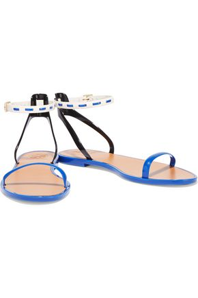 TORY BURCH Leather and rubber sandals