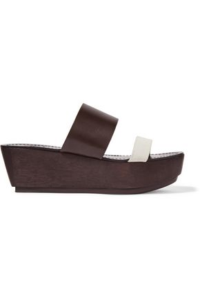 TORY BURCH Two-tone textured-leather platform sandals