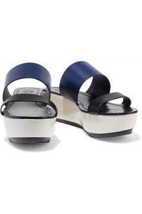 TORY BURCH Smooth and lizard-effect leather sandals