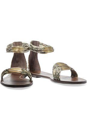 TORY BURCH Snake-effect leather sandals
