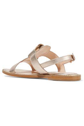 MOSCHINO Embellished metallic textured-leather sandals