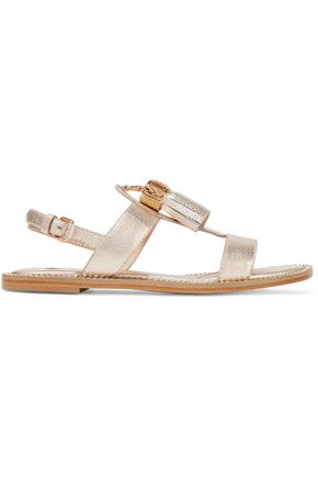 MOSCHINO Embellished metallic textured-leather sandals