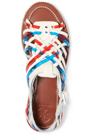 TORY BURCH Huarache woven leather and rubber sandals