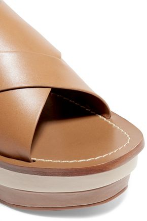 TORY BURCH Bleecker two-tone leather wedge sandals