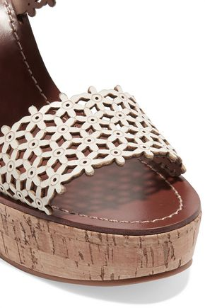 TORY BURCH Laser-cut leather wedge sandals