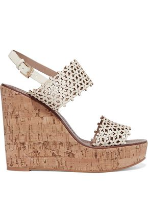TORY BURCH Laser-cut leather wedge sandals ...