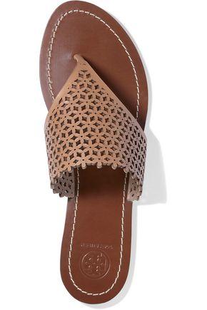 TORY BURCH Laser-cut leather sandals
