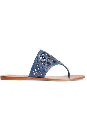 TORY BURCH Thatched laser-cut leather sandals