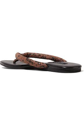 NEWBARK Flora leather-trimmed suede sandals