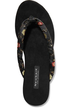 NEWBARK Flora leather-trimmed suede and embroidered satin sandals