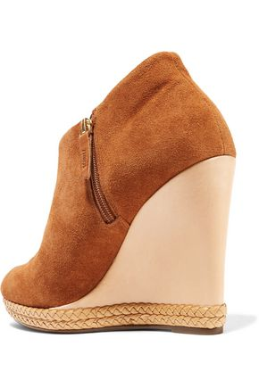SCHUTZ Belua suede and leather wedge ankle boots