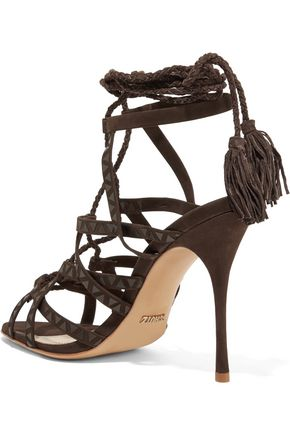 SCHUTZ Lydia leather-trimmed suede sandals