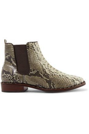 SCHUTZ Shabba embellished snake-effect leather ankle boots