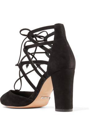SCHUTZ Arya lace-up suede pumps