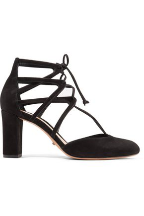 SCHUTZ Arya lace-up suede pumps