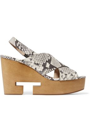 TORY BURCH Infinity cutout snake-effect leather wedge sandals