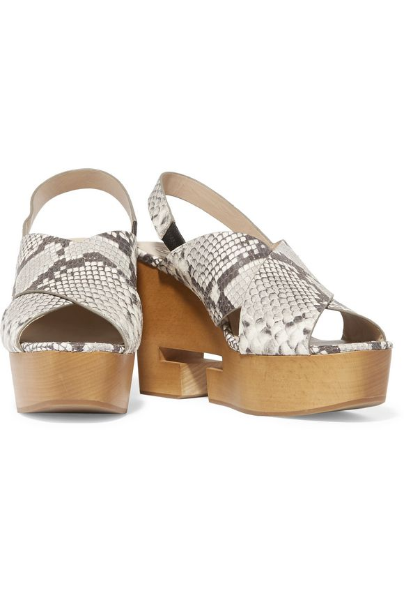 Infinity cutout snake-effect leather wedge sandals | TORY BURCH | Sale up  to 70% off | THE OUTNET