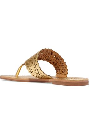 TORY BURCH Roselle laser-cut metallic textured-leather sandals