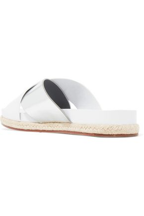 TORY BURCH Monterey two-tone metallic and smooth leather espadrille sandals
