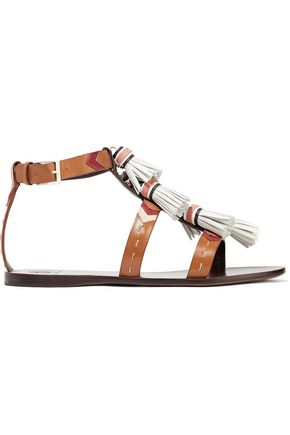 45451416974d TORY BURCH Weaver suede-trimmed embellished leather sandals ...