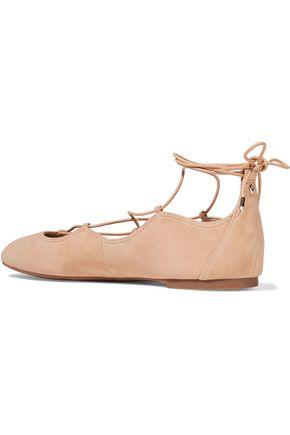 SAM EDELMAN Gretchen lace-up suede ballet flats