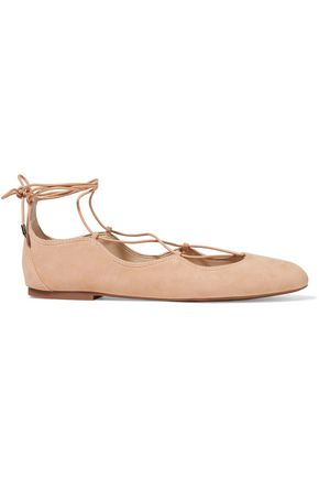 SAM EDELMAN Gretchen lace-up suede ballet flats