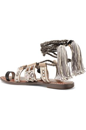 SAM EDELMAN Gretchen tasseled embellished leather lace-up sandals