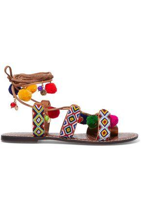 4f9923802 SAM EDELMAN Lisabeth embellished lace-up suede sandals ...