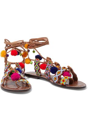 SAM EDELMAN Lisabeth embellished lace-up suede sandals