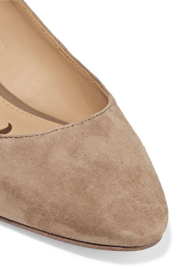 53aeffdf67d8ed Lorene leather-trimmed suede slingback pumps