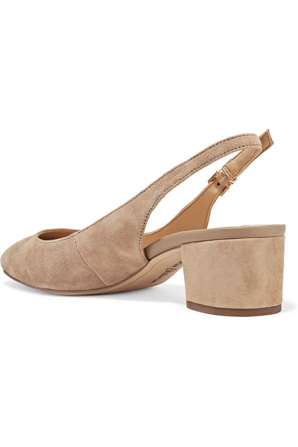 2384fed5376 Lorene leather-trimmed suede slingback pumps