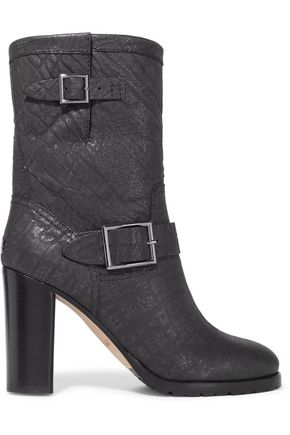 JIMMY CHOO Dart glittered textured-leather boots