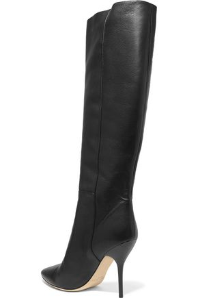 JIMMY CHOO Textured-leather knee boots