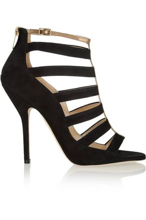 JIMMY CHOO Fathom cutout suede and metallic leather sandals