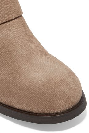 JIMMY CHOO LONDON Buckled textured-nubuck boots