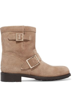 JIMMY CHOO Buckled textured-nubuck boots