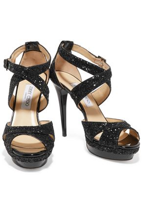 JIMMY CHOO Sequined patent-leather sandals
